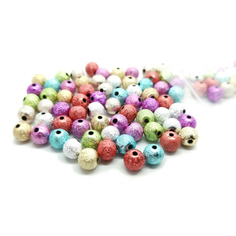 Stardust Acrylic Round Spacer Beads 8 mm - Assorted