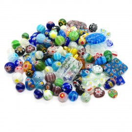 Assorted Millefiori Flower Glass Beads - Mixed Shapes & Colors