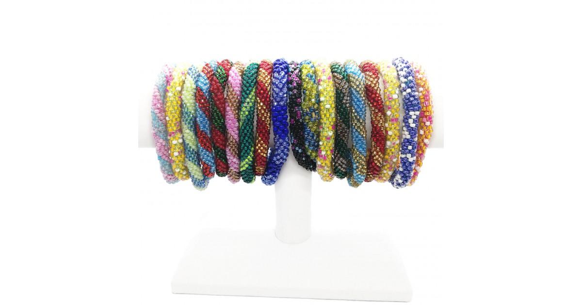 Mixed Handmade Crochet Glass Seed Bead Nepal Bracelet