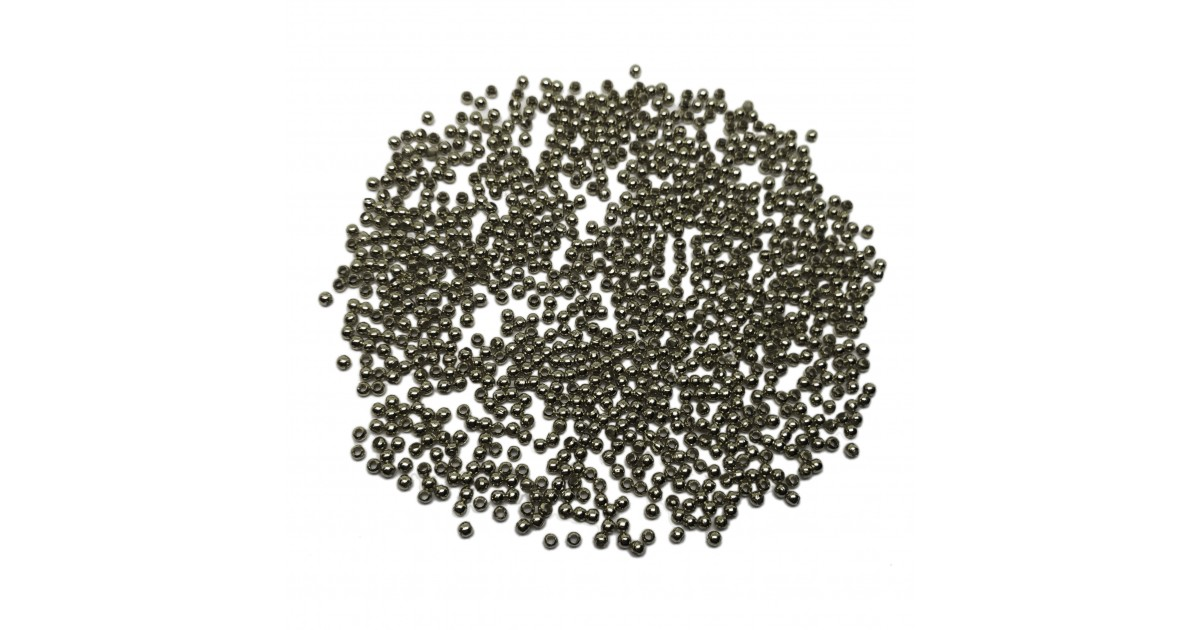 Tiny Metal Spacer Round Beads 2.4 mm - Black