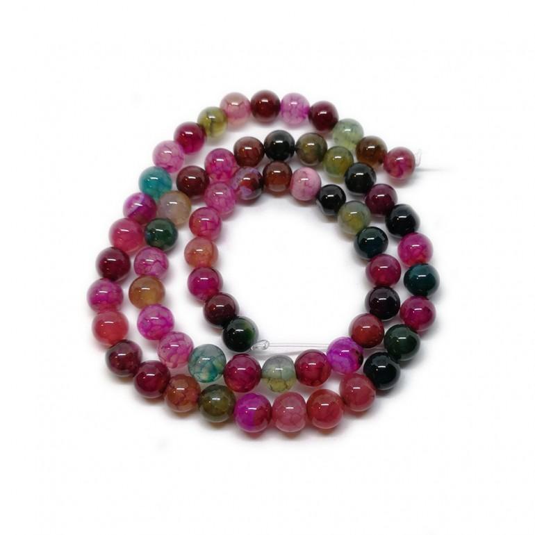 Agate Gemstone Round Beads 6 mm - Purple Blue