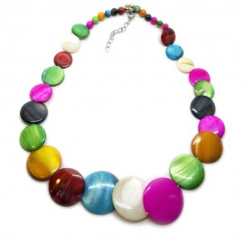Coin-shape Mother of Pearl Shell Necklace - Assorted Colors