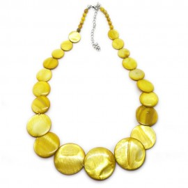 Coin-shape Mother of Pearl Shell Necklace - Yellow