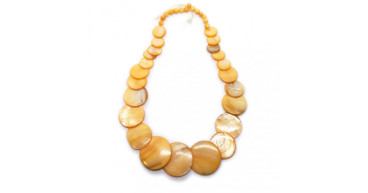 Coin-shape Mother of Pearl Shell Necklace - Gold