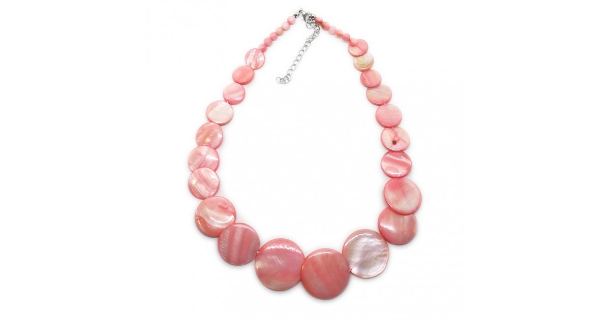 Coin-shape Mother of Pearl Shell Necklace - Light Pink