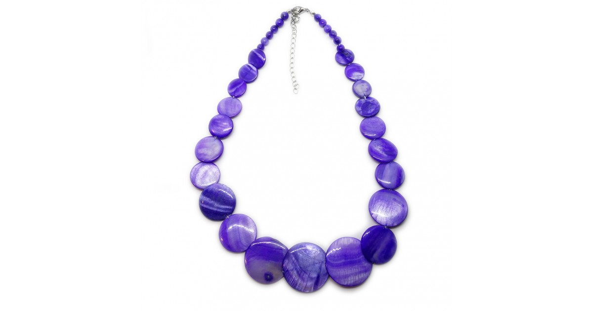Coin-shape Mother of Pearl Shell Necklace - Royal Blue