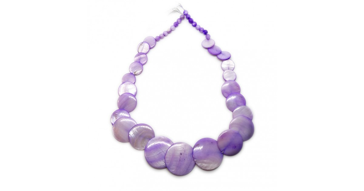 Coin-shape Mother of Pearl Shell Necklace - Violet