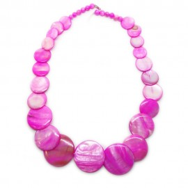 Coin-shape Mother of Pearl Shell Necklace - Hot Pink