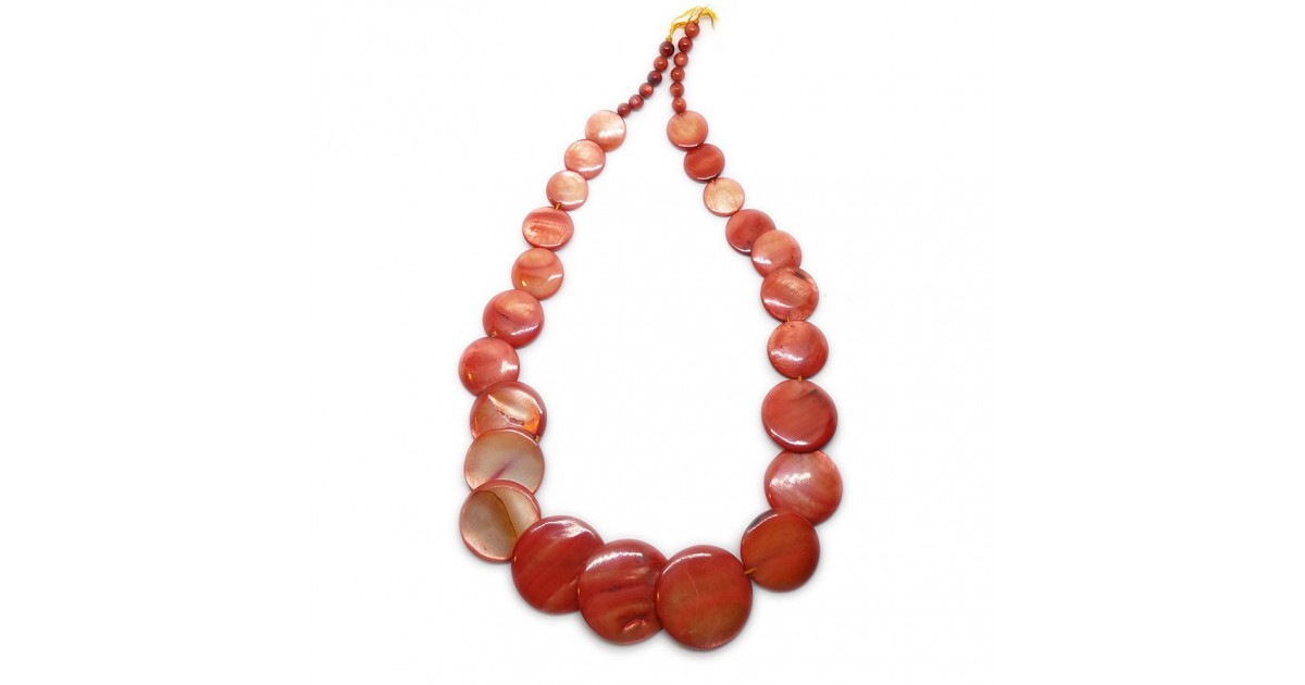 Coin-shape Mother of Pearl Shell Necklace - Fire Orange