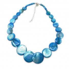 Coin-shape Mother of Pearl Shell Necklace - Blue