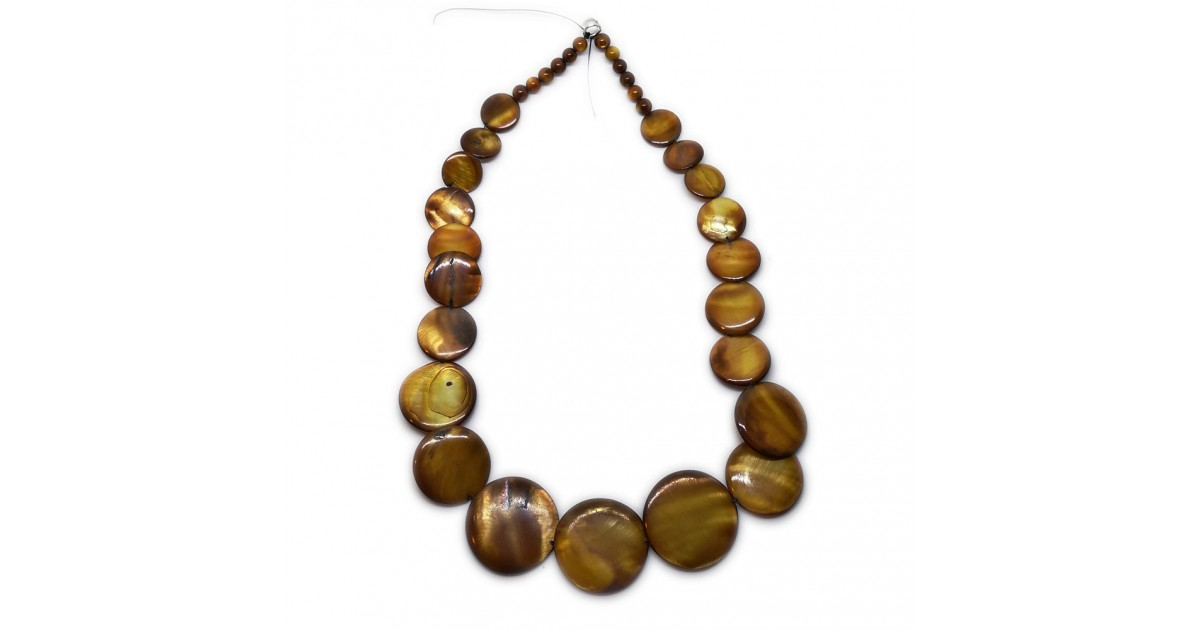 Coin-shape Mother of Pearl Shell Necklace - Brown