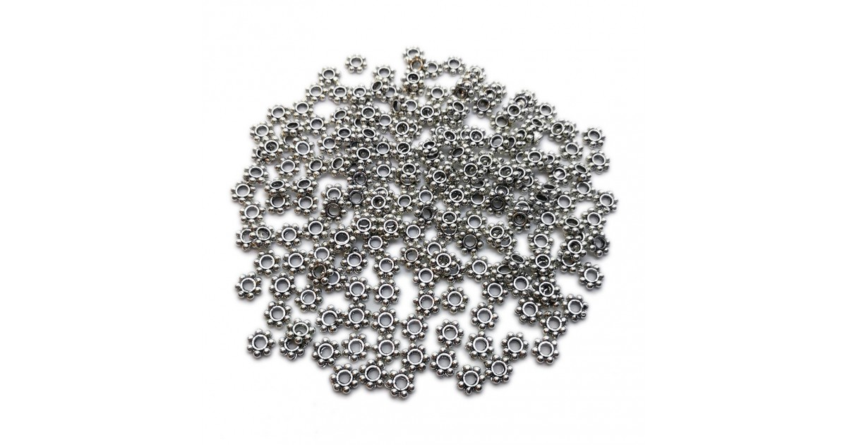 Daisy Spacer Metal Beads 5 mm - Antique Silver