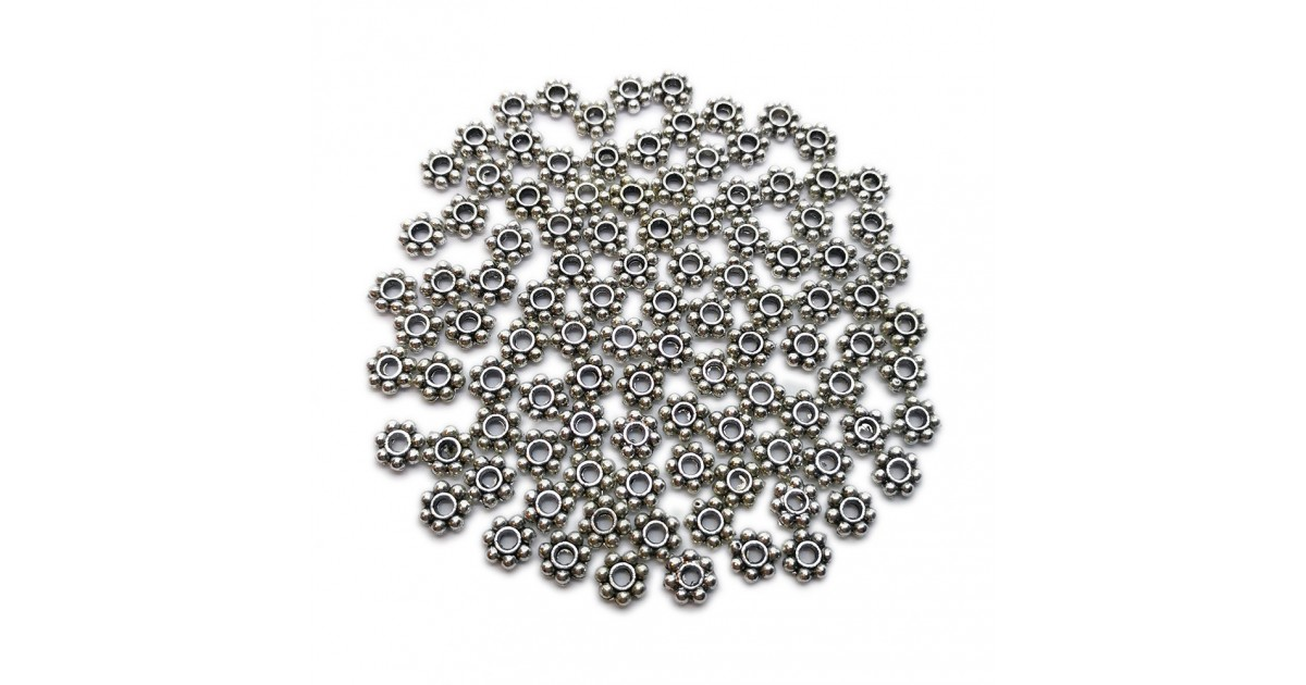 Daisy Spacer Metal Beads 6 mm - Antique Silver