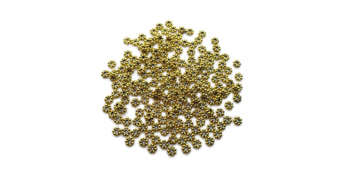 Daisy Spacer Metal Beads 4 mm - Antique Gold