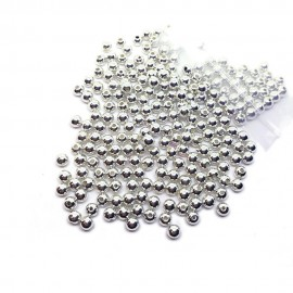 Silver Plated Acrylic Spacer Round Beads - Silver
