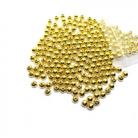 Silver Plated Acrylic Spacer Round Beads - Gold