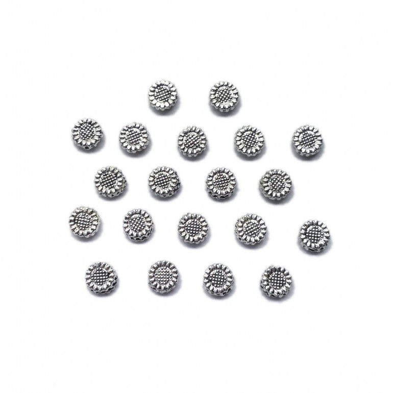 30pcs copper-tone sunflower spacer beads H2256