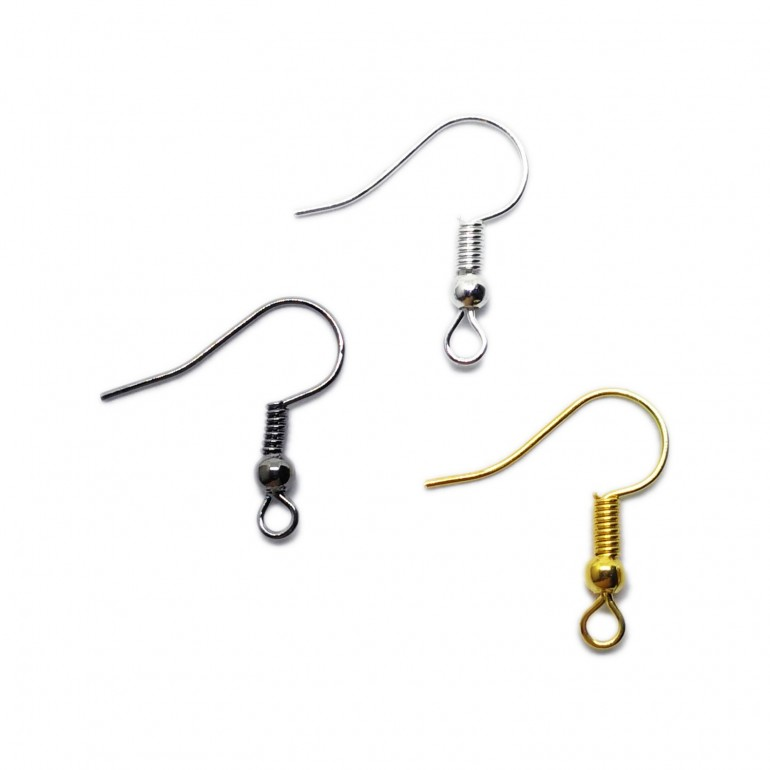 Ear Wire Fish Hooks 20 mm - Silver/Gold/Black Mixed