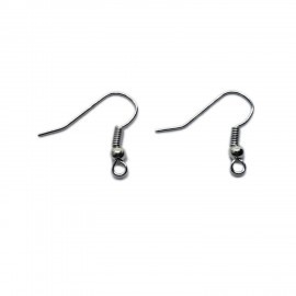 Ear Wire Fish Hooks 20 mm - Silver Tone