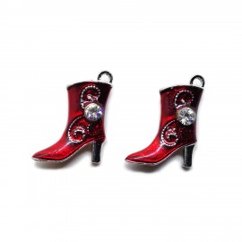 Red Oil Drip Boot Pendant