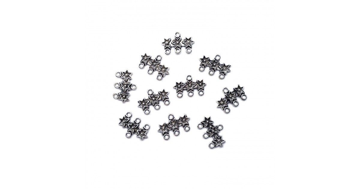 Carved Triple Stars 3-to-1 Connector Charms