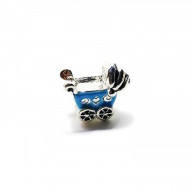 Baby Cart Large Hole Charm Beads - Blue