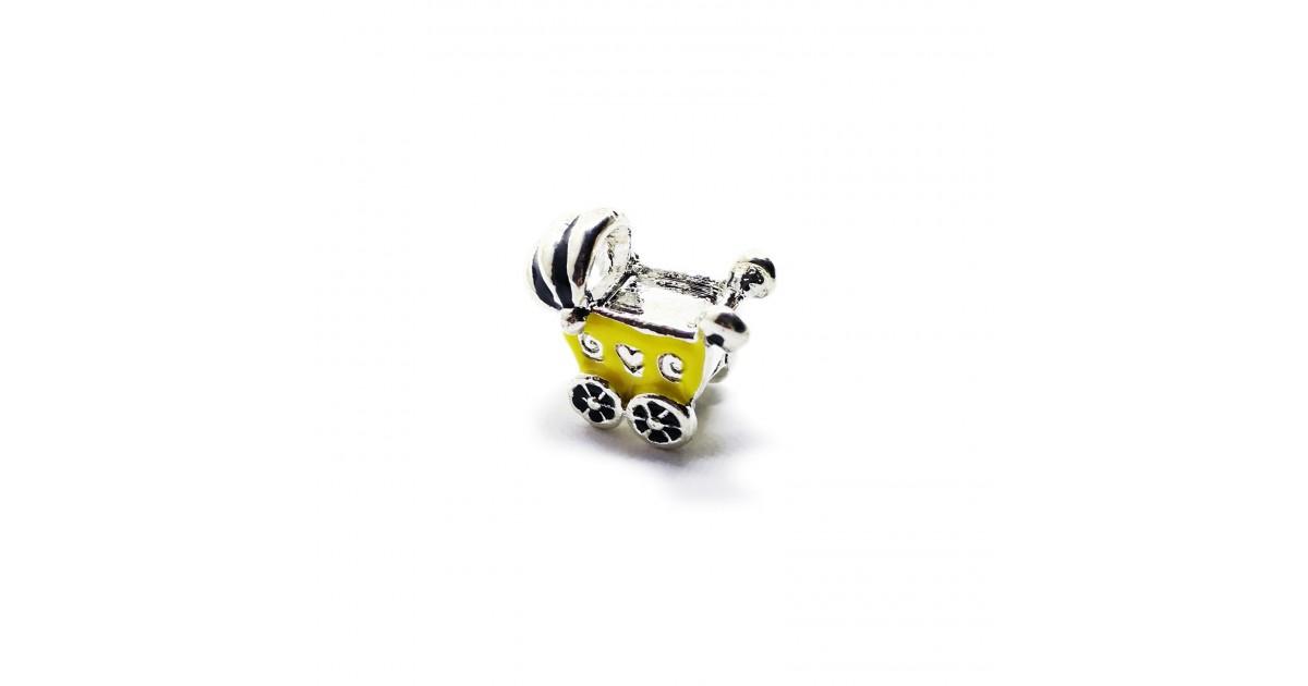 Baby Cart Large Hole Charm Beads - Yellow