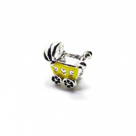 Baby Cart Large Hole Charm Beads - Yellow