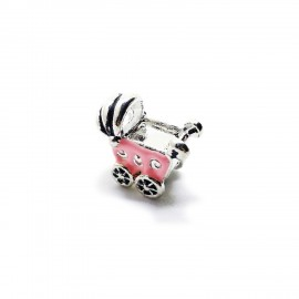 Baby Cart Large Hole Charm Beads - Pink