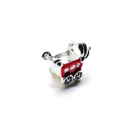 Baby Cart Large Hole Charm Beads - Red