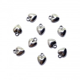 Solid Heart Charm Drops - 12 mm