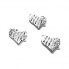 Filigree Heart Earring Connectors - Silver