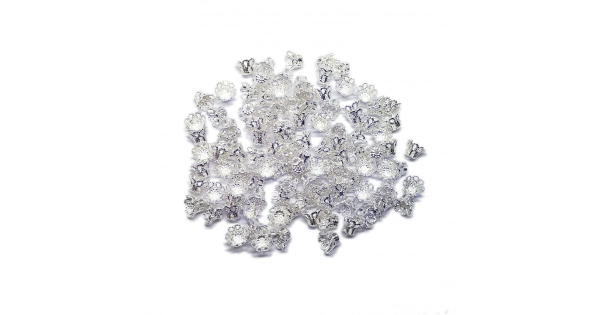 Filigree Flower Cup Bead Caps 7 mm - Silver