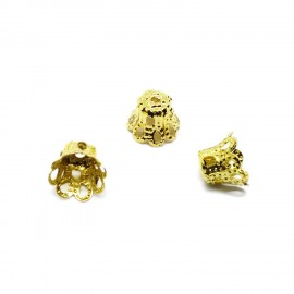 Filigree Flower Cup Bead Caps 7 mm - Gold