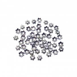 Star Shape Bead Caps 6 mm - Antique Silver
