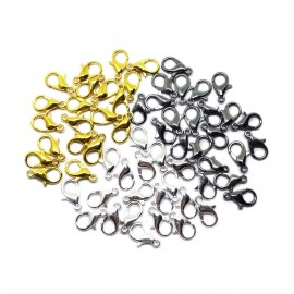 Lobster Claw Clasps 12 mm - Silver/Gold/Black Mixed