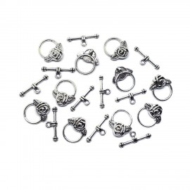 Rose Toggle Clasps - Antique Silver