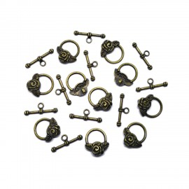 Rose Toggle Clasps - Antique Bronze