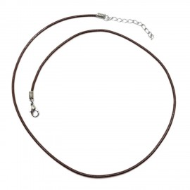 18-inch Leather Necklace Cords with Extenders - Dark Brown 2mm