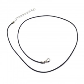 18-inch Black Rubber Necklace Cords with Extenders - Black 1.5mm