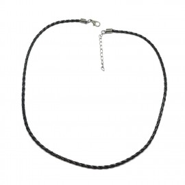 18-Inch Braided Leather Necklace Cord with Extenders 3 mm - Black