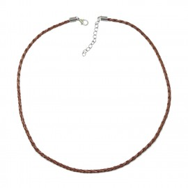 18-Inch Braided Leather Necklace Cord with Extenders 3 mm - Brown