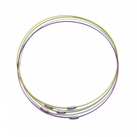 18-Inch Wire Cable Choker Necklace with Screw Clasp - Assorted Colors