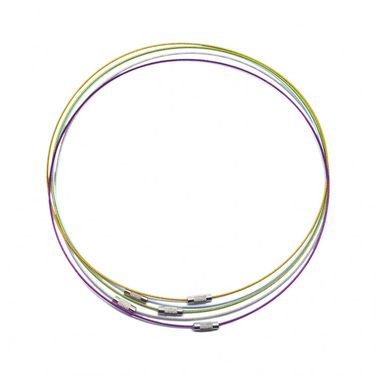 18-Inch Wire Cable Choker Necklace with Screw Clasp