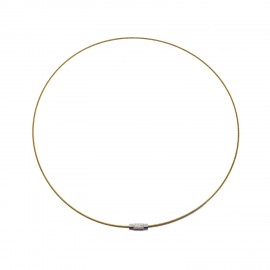 18-Inch Wire Cable Choker Necklace with Screw Clasp - Gold