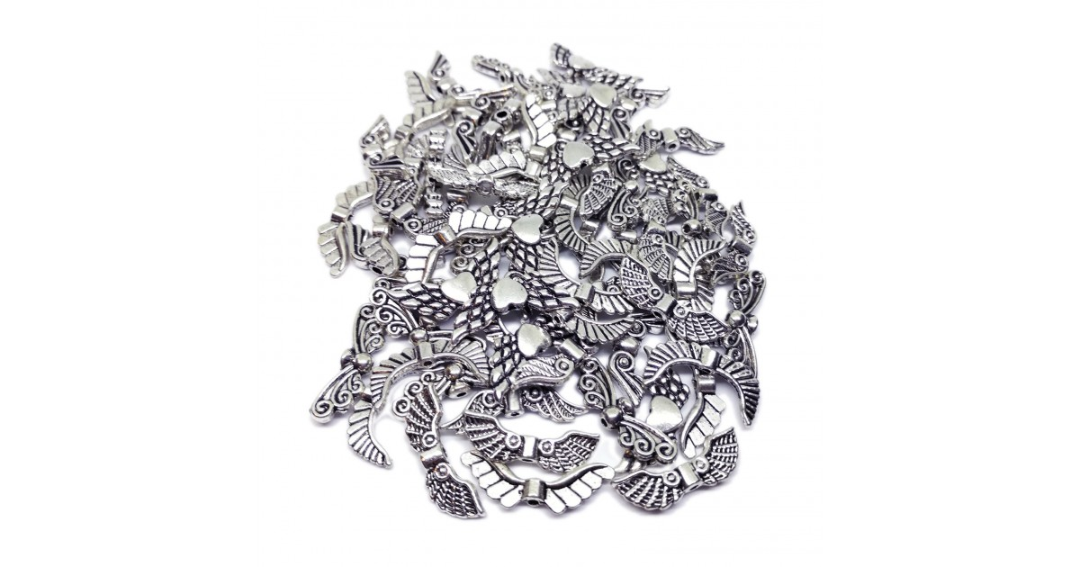 Assorted Angel Wing Spacer Charms Beads